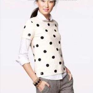 J.Crew Sequin Polka Dot Blouse Small Cream Black